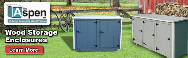 Aspen Banner & Cedar Outdoor Storage Sheds For Trash Can and Recycling Bin Storage