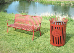 Outdoor Metal Bench Red