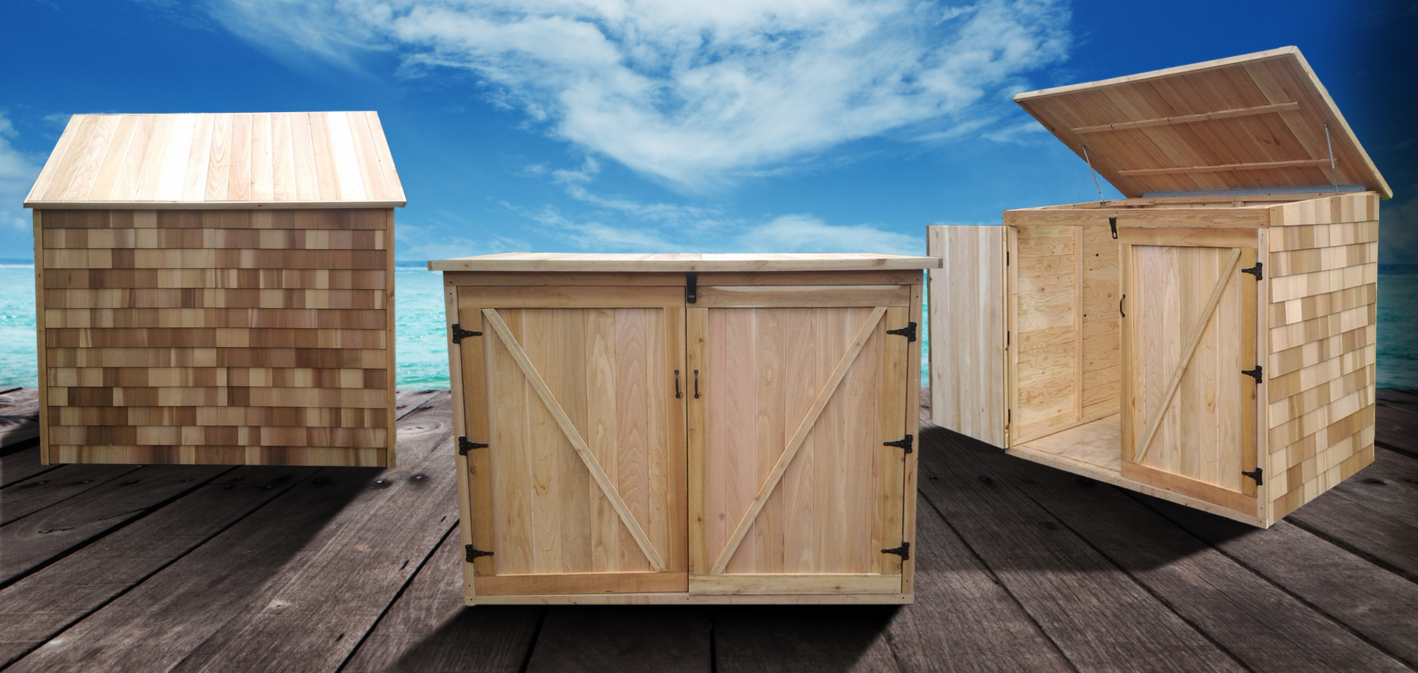 Cedar Outdoor Storage Garbage and Recycling Bin Storage Shed