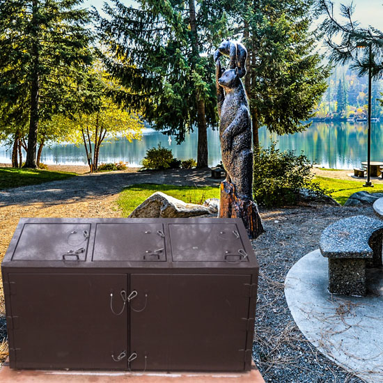 Bear Proof Box And Metal Enclosure Keeps Grizzly Bears Out