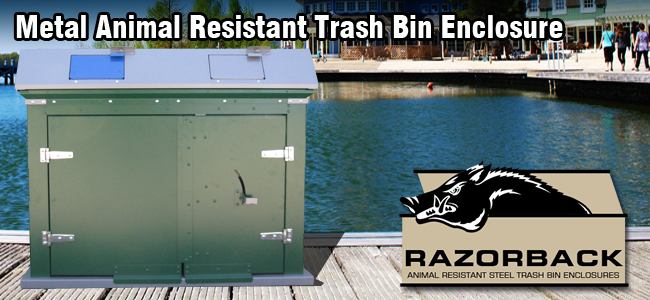 Razorback metal trash enclosure ENC904
