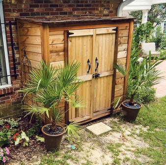 outdoor wooden cedar storage sheds